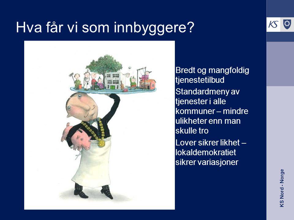 KS Nord - Norge Pleie- og omsorgstilbudet i Norgeskommunen •Bruker 38 prosent av driftsbudsjettet på pleie og omsorg •7 % over 67 år har plass på institusjon •20 % over 67 år har tilbud om hjemmetjeneste •Omfanget av hjemmehjelp varierer