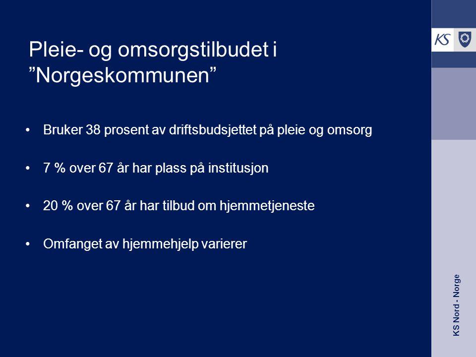 """KS Nord - Norge Pleie- og omsorgstilbudet i """"Norgeskommunen"""" •Bruker 38 prosent av driftsbudsjettet på pleie og omsorg •7 % over 67 år har plass på in"""