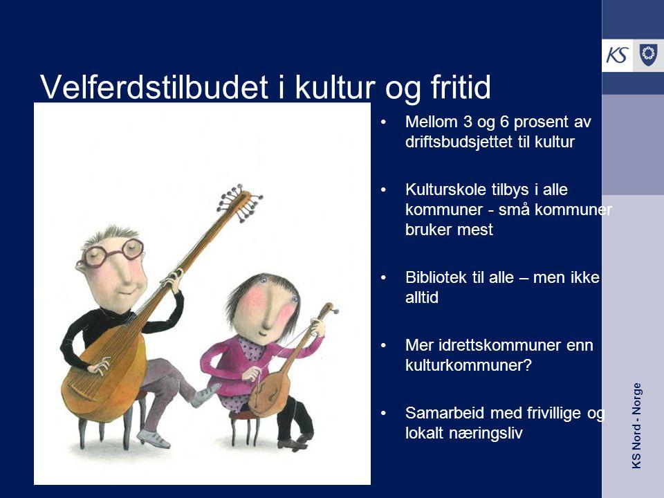 KS Nord - Norge Velferdstilbudet i kultur og fritid •Mellom 3 og 6 prosent av driftsbudsjettet til kultur •Kulturskole tilbys i alle kommuner - små ko