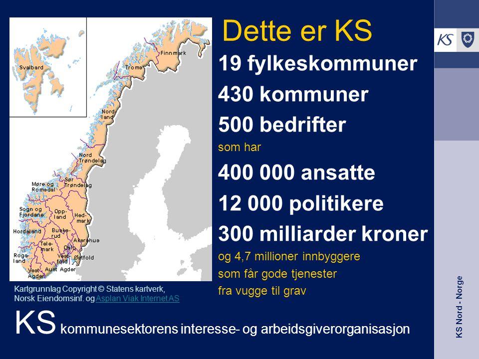 KS Nord - Norge 19 fylkeskommuner 430 kommuner 500 bedrifter som har 400 000 ansatte 12 000 politikere 300 milliarder kroner og 4,7 millioner innbygge