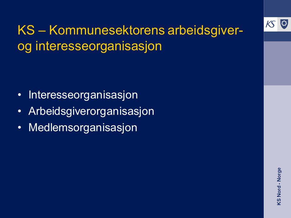 KS Nord - Norge •Strammere arbeidsmarked •Store fremtidige demografi-utfordringer •Lav arbeidskraftutnyttelse; –Stor avgang fra sektoren –Lav avgangsalder –Høyt antall uføre –Høyt sykefravær –Stor andel deltidsansatte –Få innvandrere •Kompetanseutfordringer •Omdømme påvirker unges utdanningsvalg og vår rekrutteringsevne Utfordringene - arbeidskraft