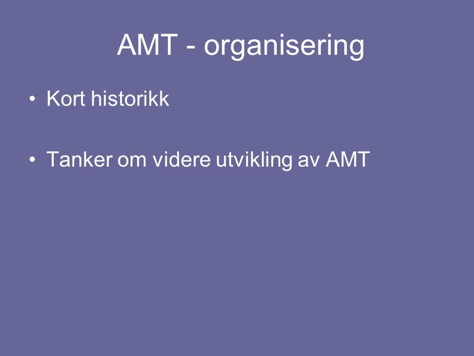 AMT - organisering •Kort historikk •Tanker om videre utvikling av AMT