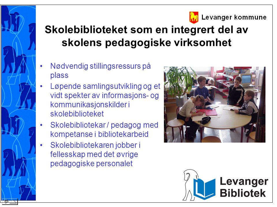 Skolebiblioteket som en integrert del av skolens pedagogiske virksomhet •Nødvendig stillingsressurs på plass •Løpende samlingsutvikling og et vidt spe