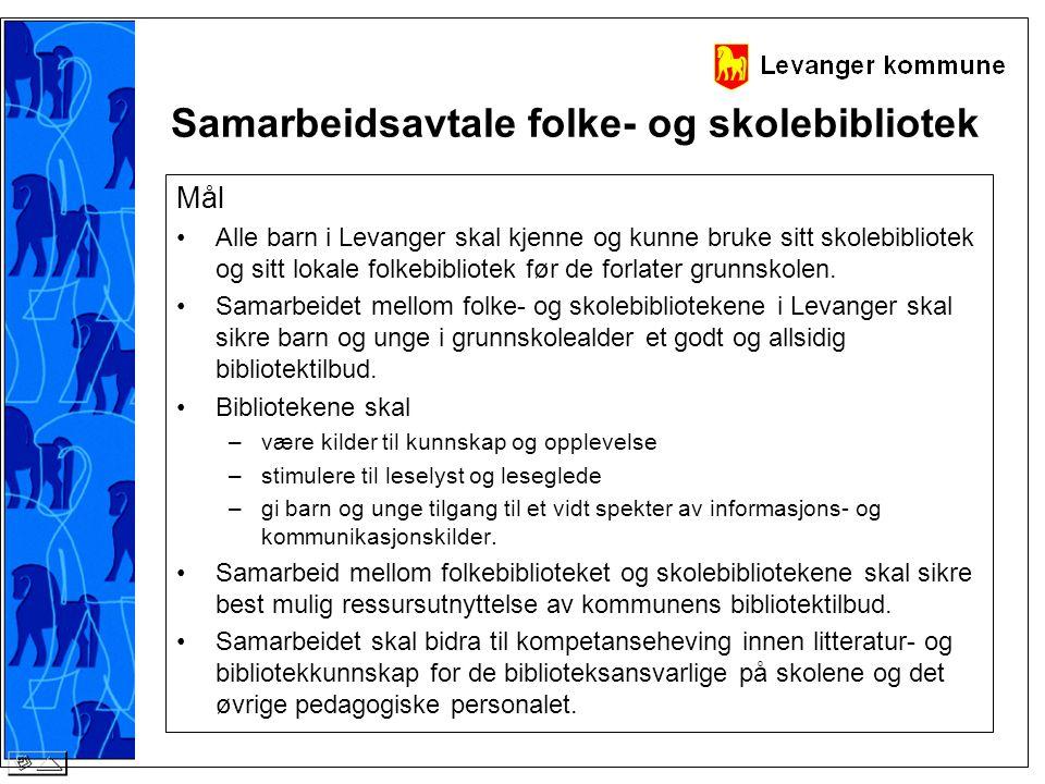 Samarbeidsavtale folke- og skolebibliotek Mål •Alle barn i Levanger skal kjenne og kunne bruke sitt skolebibliotek og sitt lokale folkebibliotek før d
