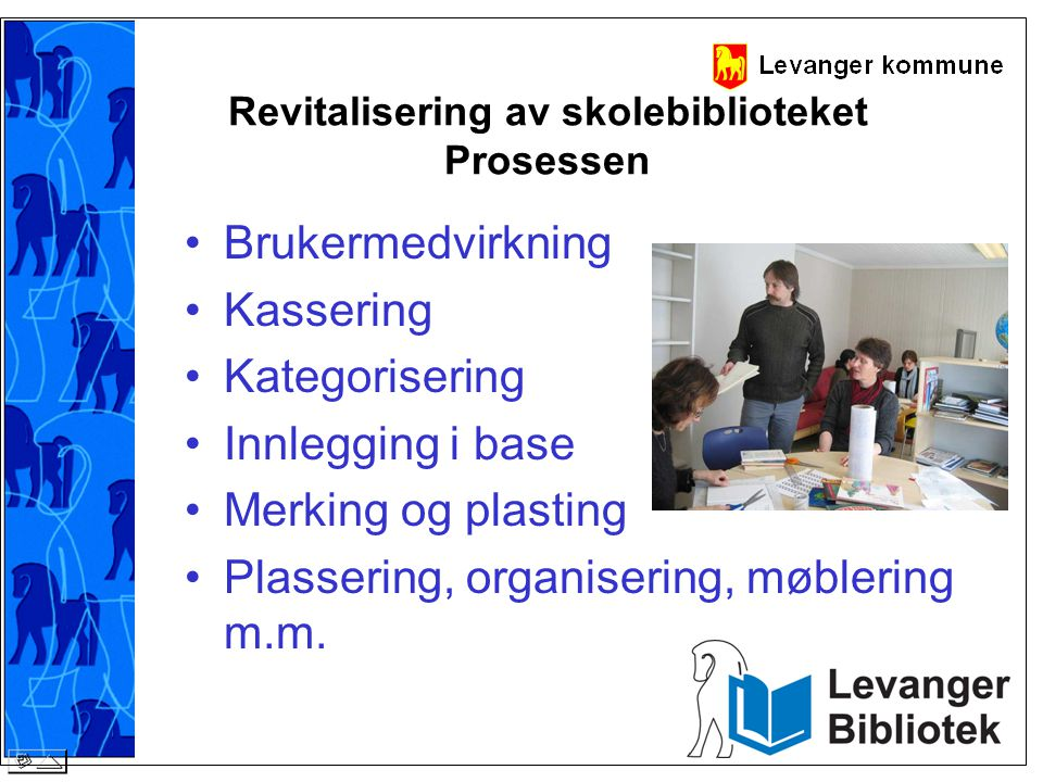 Revitalisering av skolebiblioteket Prosessen •Brukermedvirkning •Kassering •Kategorisering •Innlegging i base •Merking og plasting •Plassering, organi