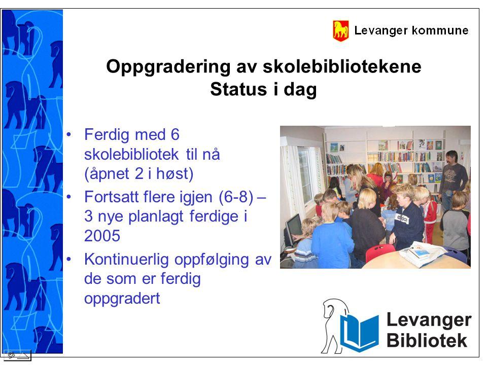 Oppgradering av skolebibliotekene Status i dag •Ferdig med 6 skolebibliotek til nå (åpnet 2 i høst) •Fortsatt flere igjen (6-8) – 3 nye planlagt ferdi