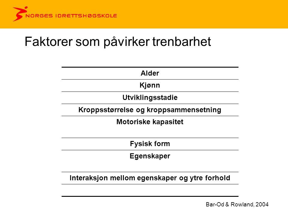 Faktorer som påvirker trenbarhet Alder Kjønn Utviklingsstadie Kroppsstørrelse og kroppsammensetning Motoriske kapasitet Fysisk form Egenskaper Interaksjon mellom egenskaper og ytre forhold Bar-Od & Rowland, 2004