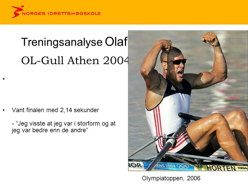 Treningsanalyse Olaf Tufte OL-Gull Athen 2004 •Vant finalen med 2,14 sekunder - Jeg visste at jeg var i storform og at jeg var bedre enn de andre Olympiatoppen, 2006