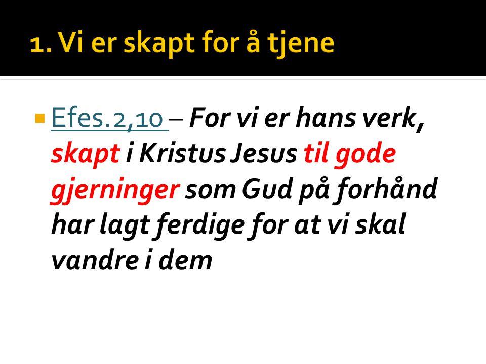  Efes.2,10 – For vi er hans verk, skapt i Kristus Jesus til gode gjerninger som Gud på forhånd har lagt ferdige for at vi skal vandre i dem