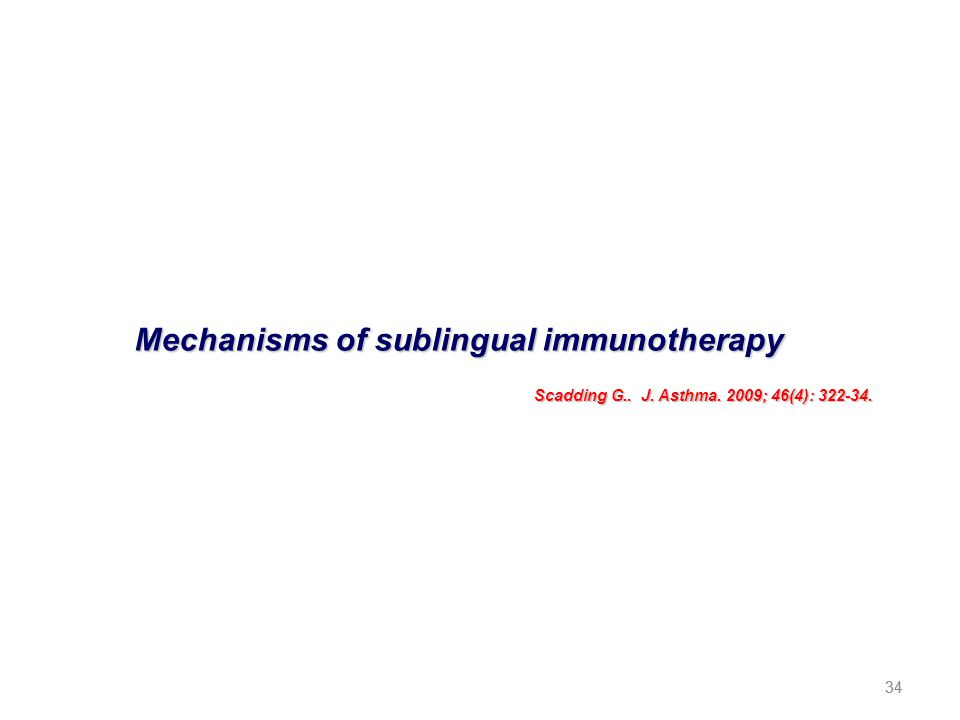 34 Mechanisms of sublingual immunotherapy Scadding G.. J. Asthma. 2009; 46(4): 322-34. 34