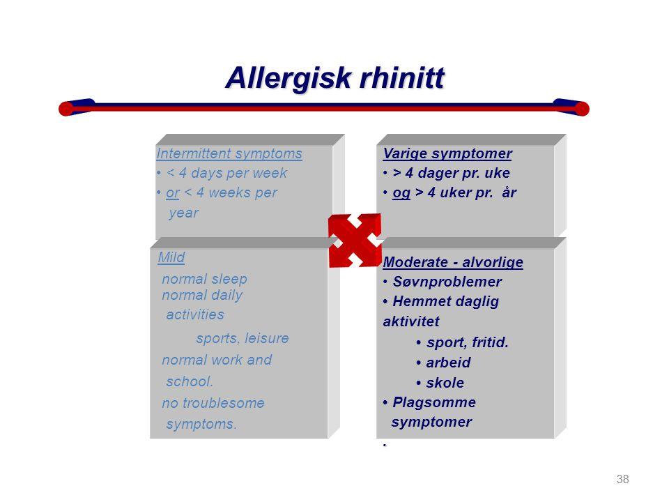 38 Allergisk rhinitt Intermittent symptoms • < 4 days per week • or < 4 weeks per year year Varige symptomer • > 4 dager pr. uke • og > 4 uker pr. år