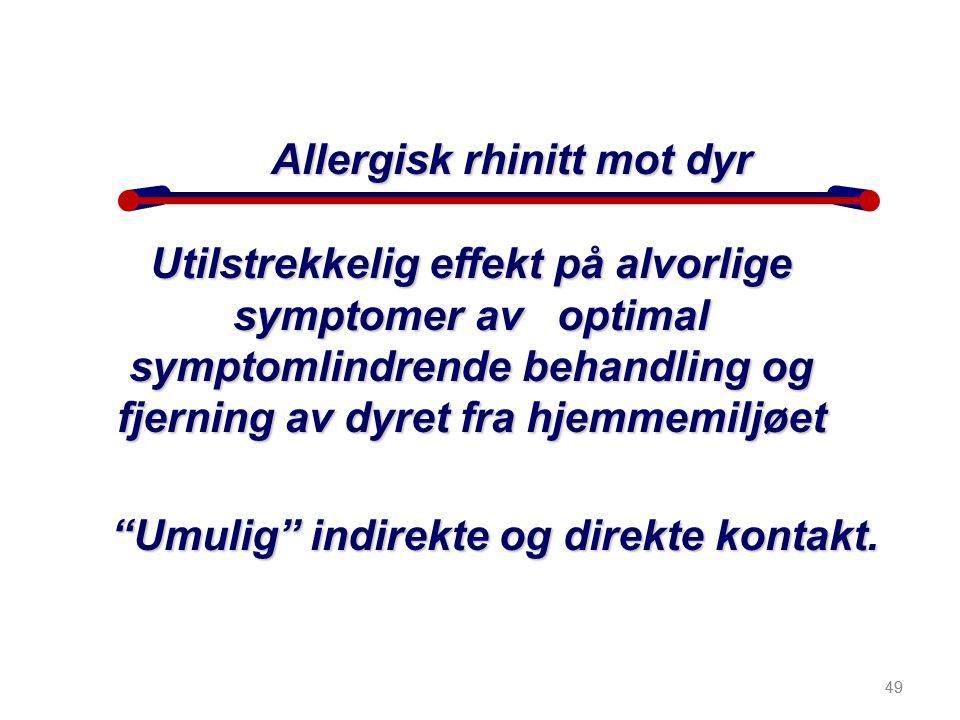 """49 Utilstrekkelig effekt på alvorlige symptomer av optimal symptomlindrende behandling og fjerning av dyret fra hjemmemiljøet """"Umulig"""" indirekte og di"""