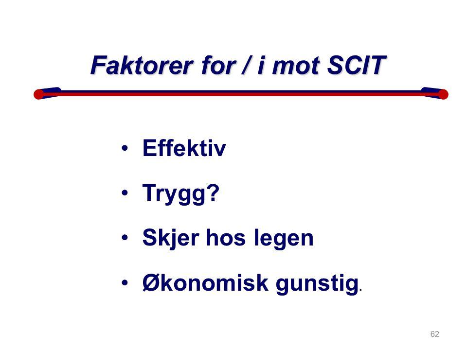 62 • Effektiv • Trygg? • Skjer hos legen • Økonomisk gunstig. Faktorer for / i mot SCIT 62