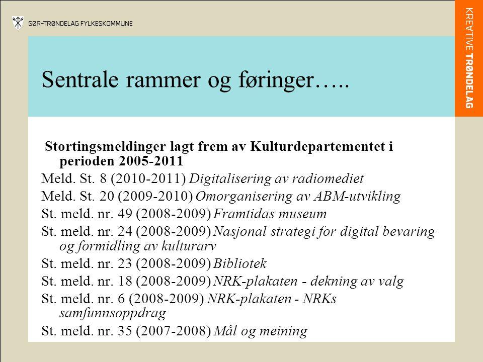 Sentrale rammer og føringer….. Stortingsmeldinger lagt frem av Kulturdepartementet i perioden 2005-2011 Meld. St. 8 (2010-2011) Digitalisering av radi