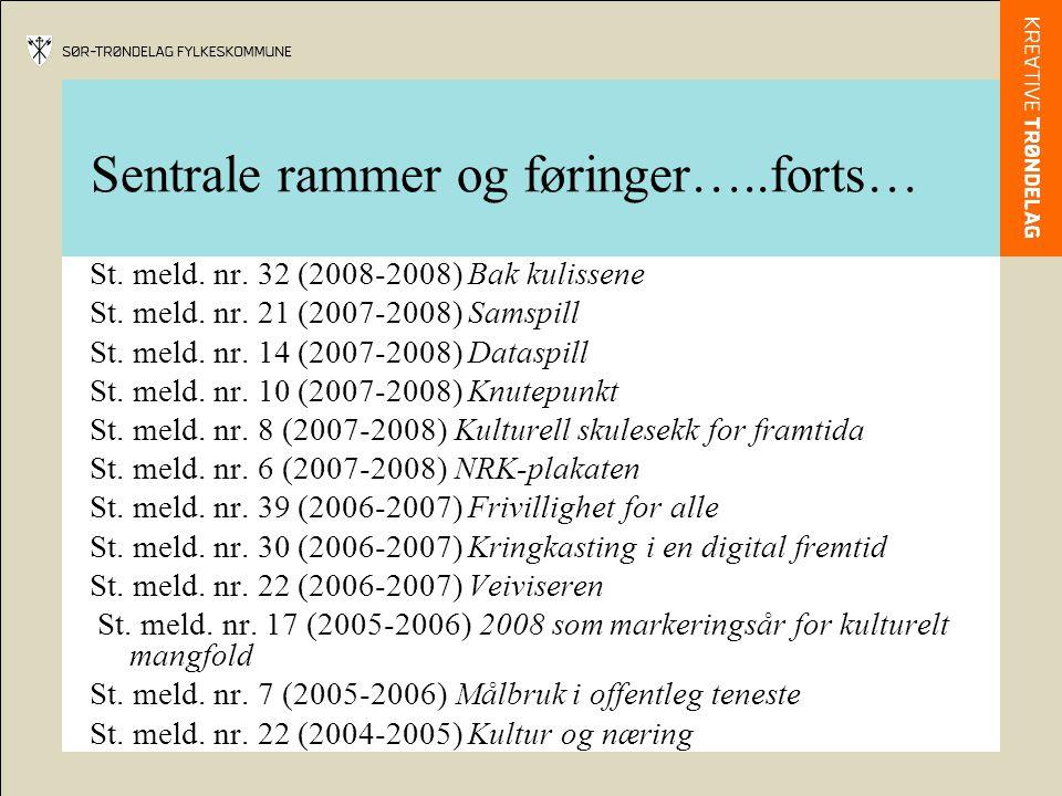 Sentrale rammer og føringer…..forts… St. meld. nr. 32 (2008-2008) Bak kulissene St. meld. nr. 21 (2007-2008) Samspill St. meld. nr. 14 (2007-2008) Dat
