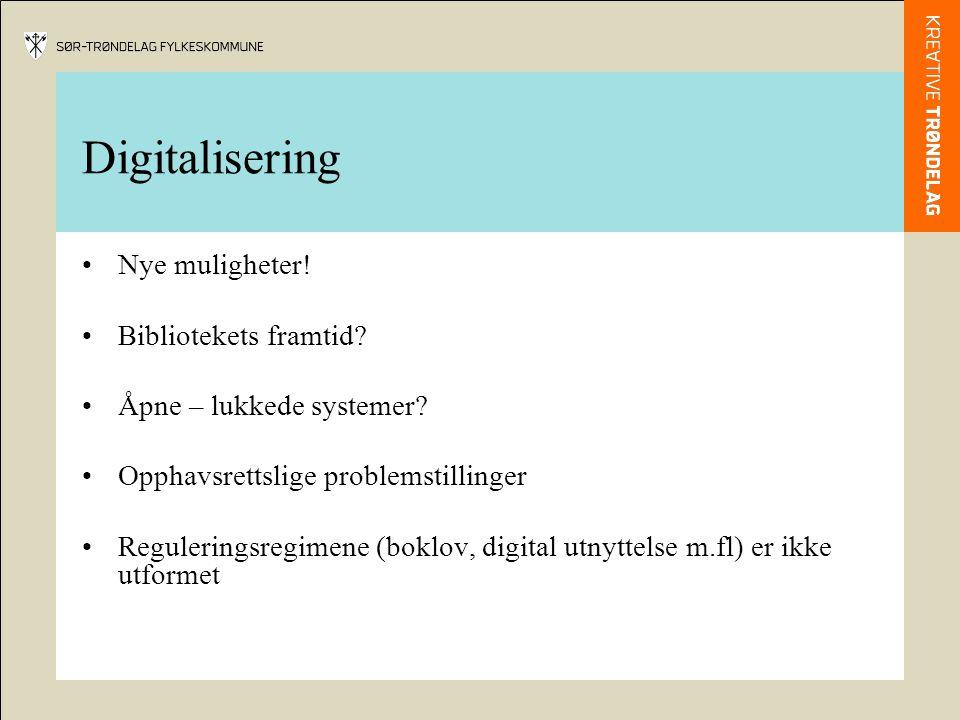Digitalisering •Nye muligheter! •Bibliotekets framtid? •Åpne – lukkede systemer? •Opphavsrettslige problemstillinger •Reguleringsregimene (boklov, dig