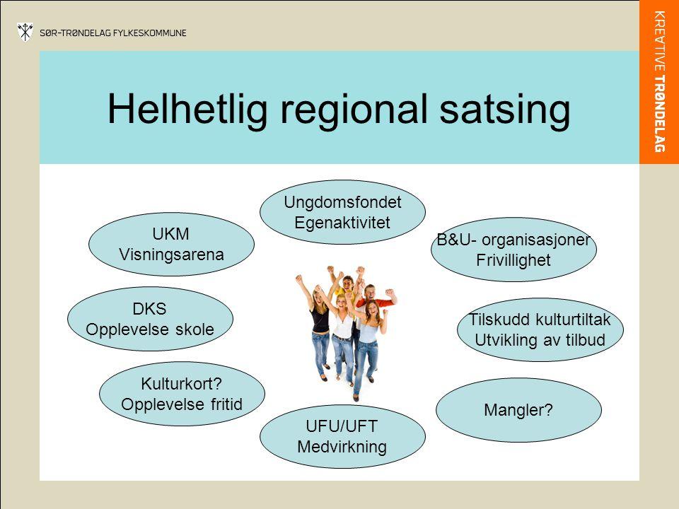 Helhetlig regional satsing UKM Visningsarena Ungdomsfondet Egenaktivitet Kulturkort? Opplevelse fritid DKS Opplevelse skole UFU/UFT Medvirkning Mangle