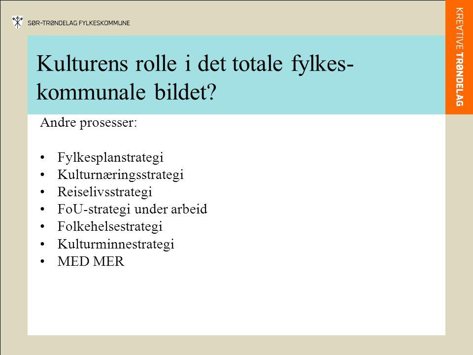 Kulturens rolle i det totale fylkes- kommunale bildet? Andre prosesser: •Fylkesplanstrategi •Kulturnæringsstrategi •Reiselivsstrategi •FoU-strategi un
