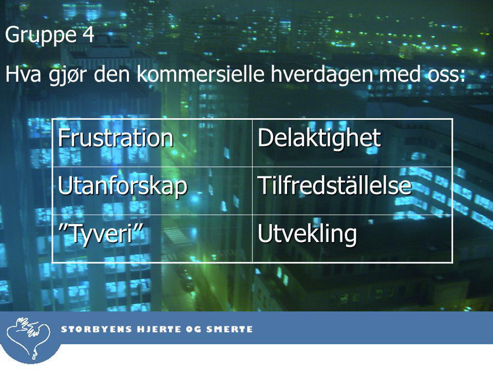 Gruppe 4 Hva gjør den kommersielle hverdagen med oss:FrustrationDelaktighetUtanforskapTilfredställelse Tyveri Utvekling