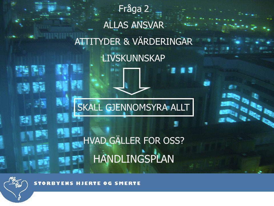 Fråga 2 ALLAS ANSVAR ATTITYDER & VÄRDERINGAR LIVSKUNNSKAP SKALL GJENNOMSYRA ALLT HVAD GÄLLER FOR OSS.