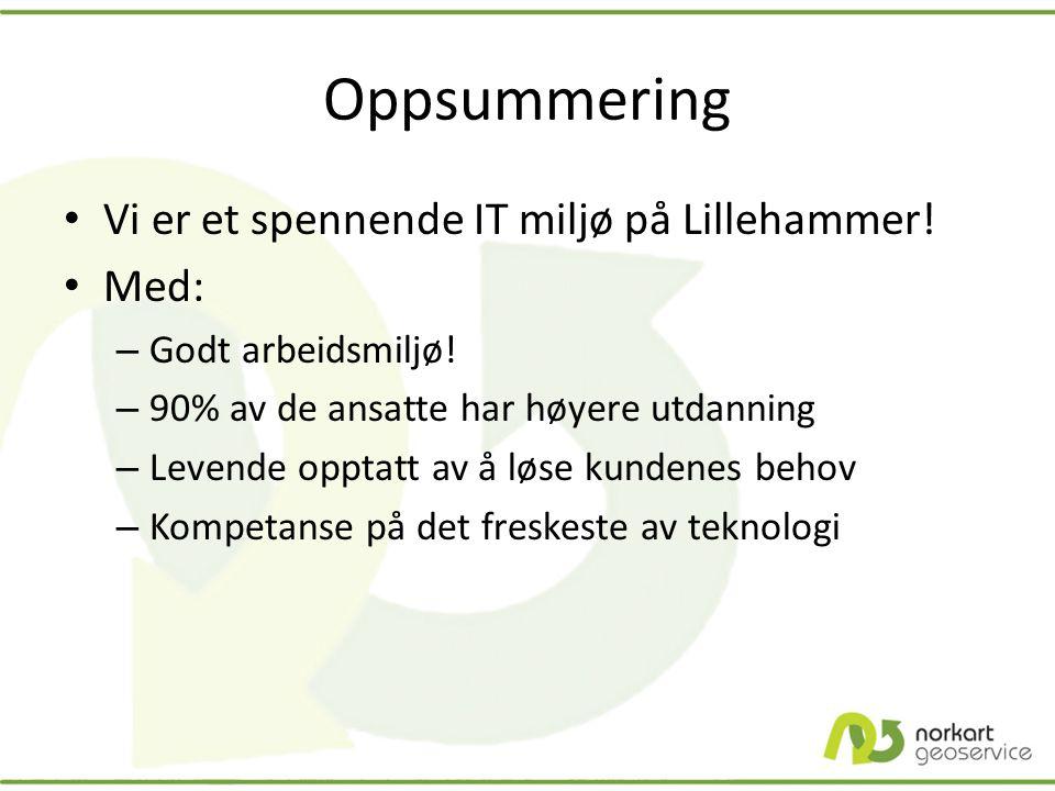 Oppsummering • Vi er et spennende IT miljø på Lillehammer! • Med: – Godt arbeidsmiljø! – 90% av de ansatte har høyere utdanning – Levende opptatt av å