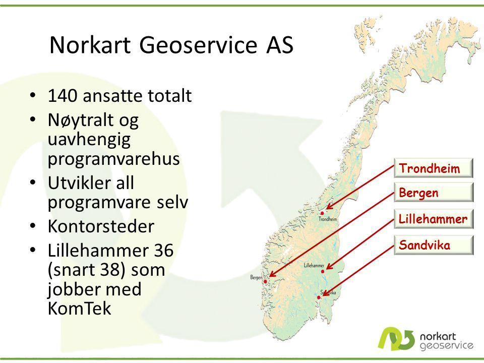 Bergen Lillehammer Sandvika Norkart Geoservice AS • 140 ansatte totalt • Nøytralt og uavhengig programvarehus • Utvikler all programvare selv • Kontor