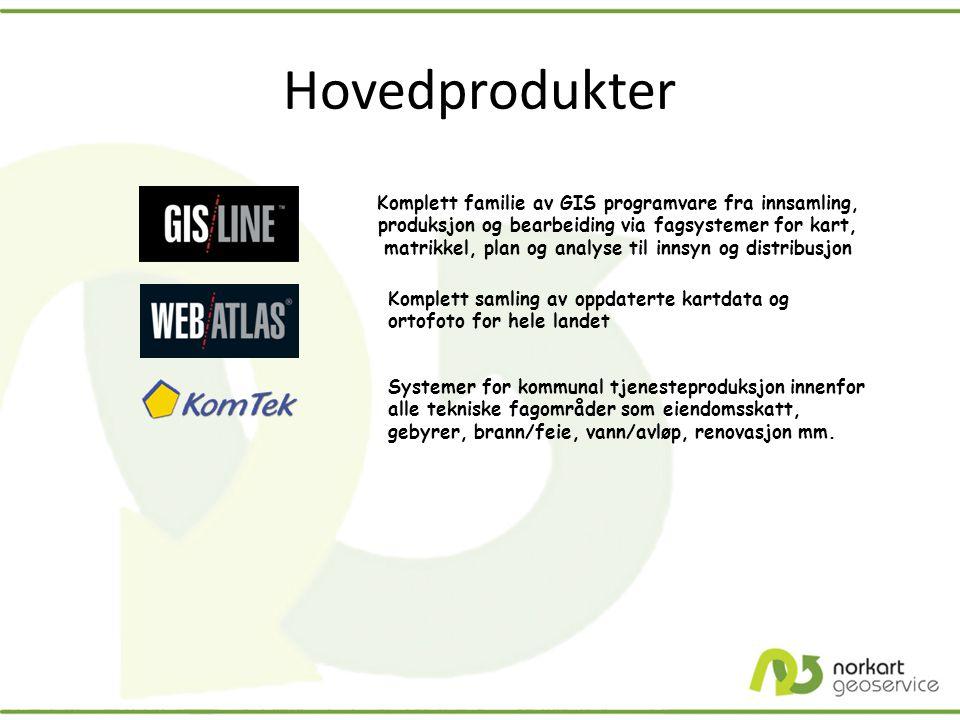 Hovedprodukter Komplett familie av GIS programvare fra innsamling, produksjon og bearbeiding via fagsystemer for kart, matrikkel, plan og analyse til