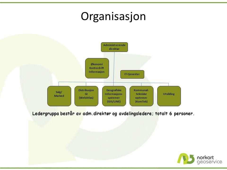 Organisasjon Ledergruppa består av adm.direktør og avdelingsledere; totalt 6 personer. Administrerende direktør Salg/ Marked Distribusjon GI (WebAtlas