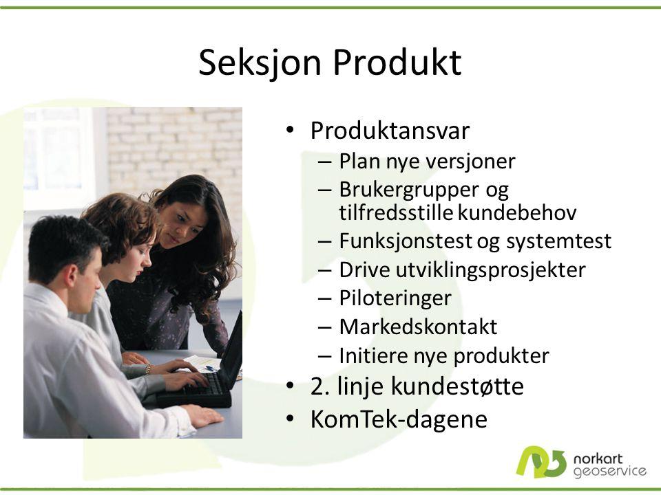 Seksjon Produkt • Produktansvar – Plan nye versjoner – Brukergrupper og tilfredsstille kundebehov – Funksjonstest og systemtest – Drive utviklingspros