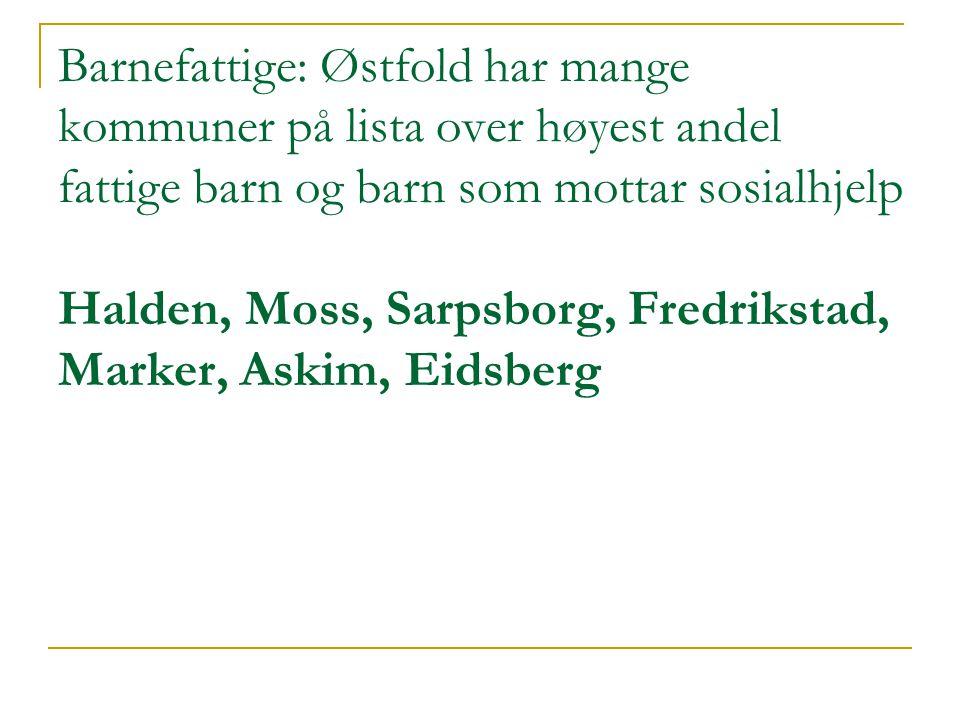 Barnefattige: Østfold har mange kommuner på lista over høyest andel fattige barn og barn som mottar sosialhjelp Halden, Moss, Sarpsborg, Fredrikstad,