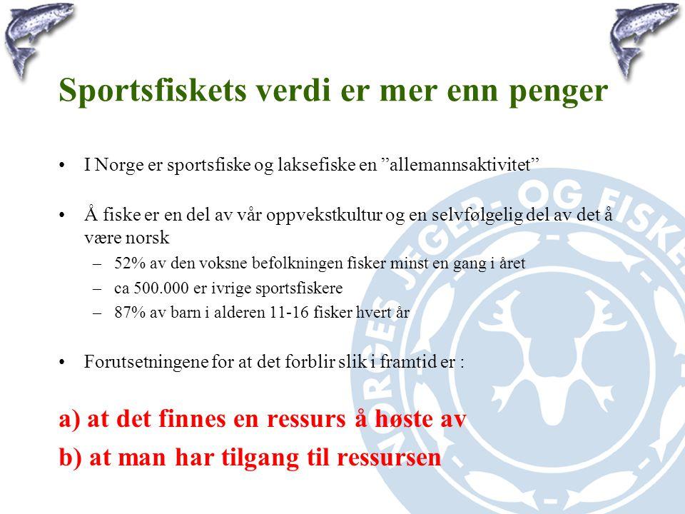 """Sportsfiskets verdi er mer enn penger •I Norge er sportsfiske og laksefiske en """"allemannsaktivitet"""" •Å fiske er en del av vår oppvekstkultur og en sel"""