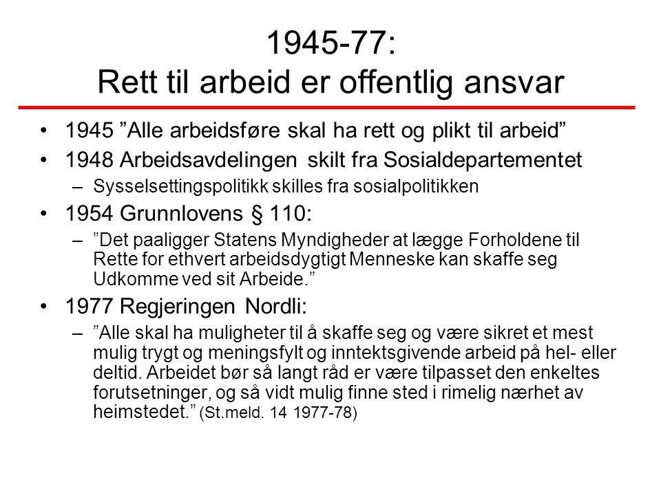 """1945-77: Rett til arbeid er offentlig ansvar •1945 """"Alle arbeidsføre skal ha rett og plikt til arbeid"""" •1948 Arbeidsavdelingen skilt fra Sosialdeparte"""