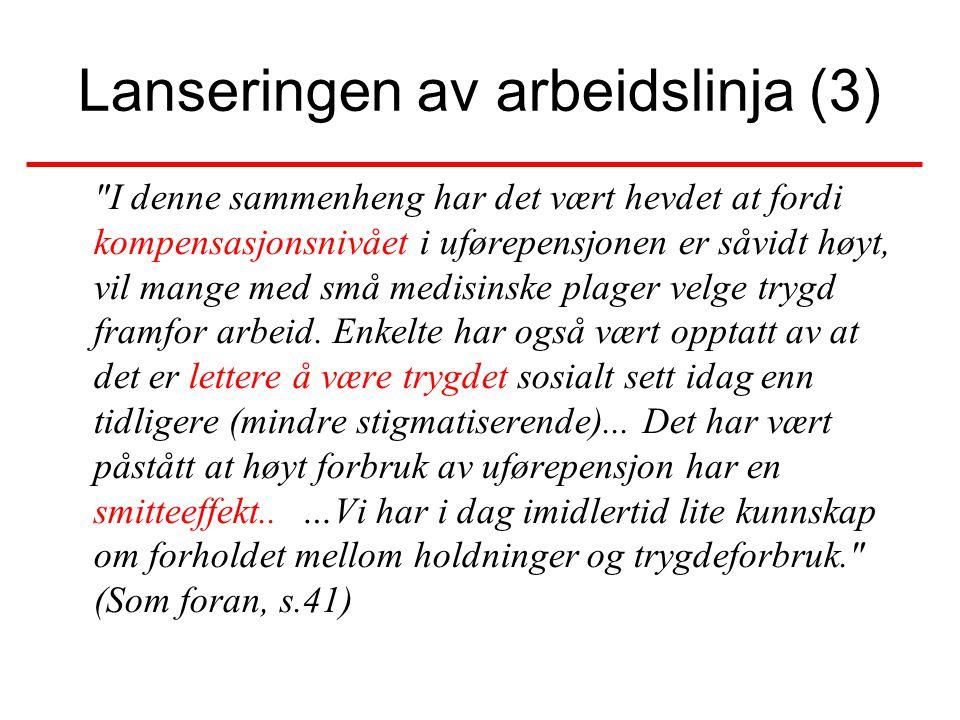 1990 årene– Arbeidslinja Arbeidsplikt uten rett til arbeid •1992 Attføringsmeldingen: –Fra systemforklaringer til moraliserende individforklaringer.