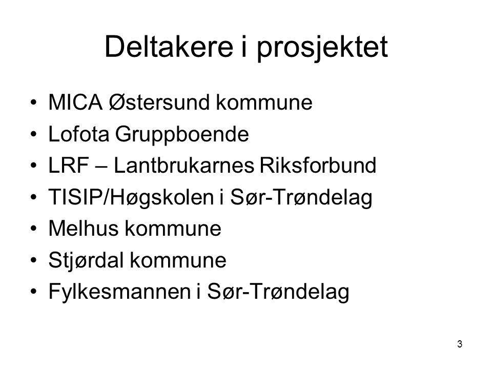 3 Deltakere i prosjektet •MICA Østersund kommune •Lofota Gruppboende •LRF – Lantbrukarnes Riksforbund •TISIP/Høgskolen i Sør-Trøndelag •Melhus kommune •Stjørdal kommune •Fylkesmannen i Sør-Trøndelag