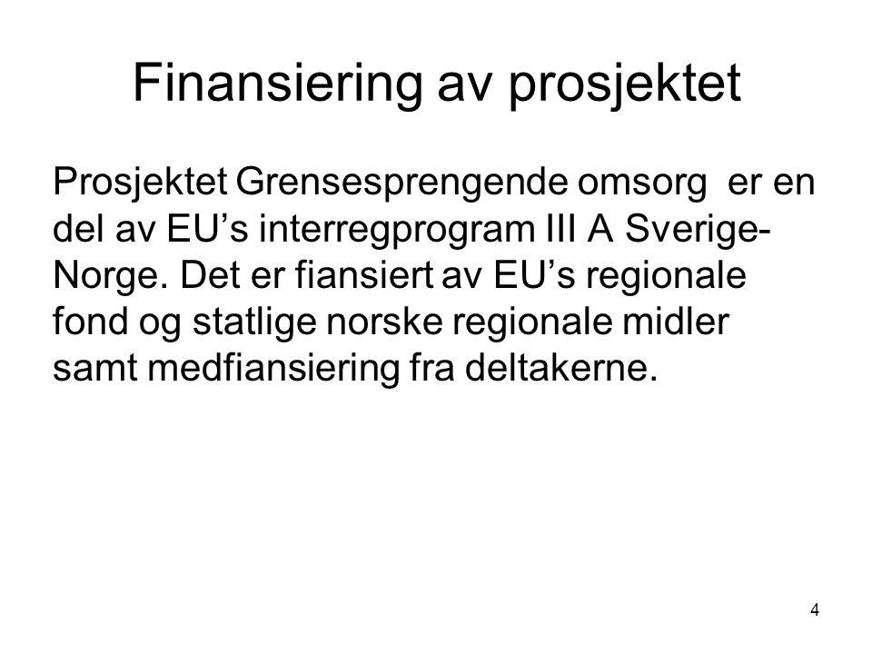 4 Finansiering av prosjektet Prosjektet Grensesprengende omsorg er en del av EU's interregprogram III A Sverige- Norge. Det er fiansiert av EU's regio