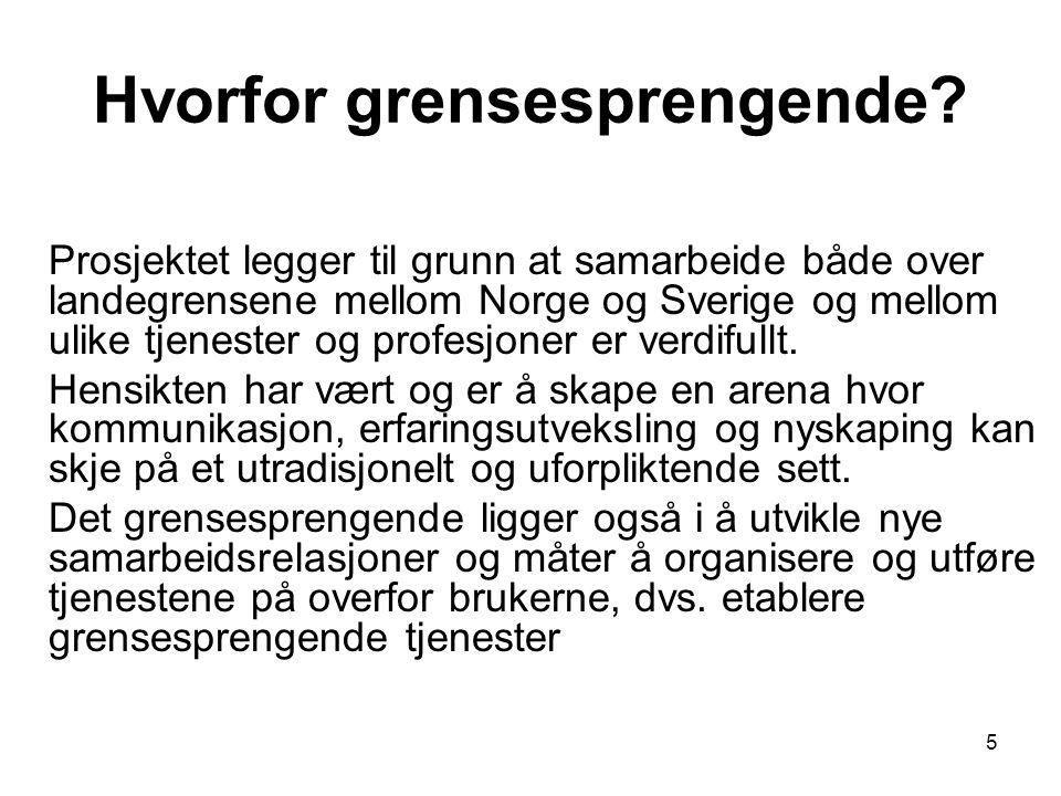 5 Hvorfor grensesprengende? Prosjektet legger til grunn at samarbeide både over landegrensene mellom Norge og Sverige og mellom ulike tjenester og pro