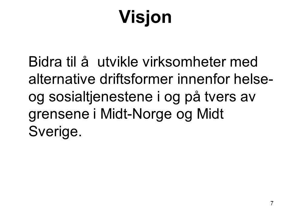 7 Visjon Bidra til å utvikle virksomheter med alternative driftsformer innenfor helse- og sosialtjenestene i og på tvers av grensene i Midt-Norge og Midt Sverige.