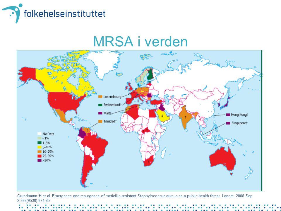 Sentrale tiltak • Screening ved innkomst og før arbeid • Isolering av pasienter med MRSA • Arbeidsrestriksjon for personale med MRSA • Sanering av MRSA-positive Tiltak i sykehus