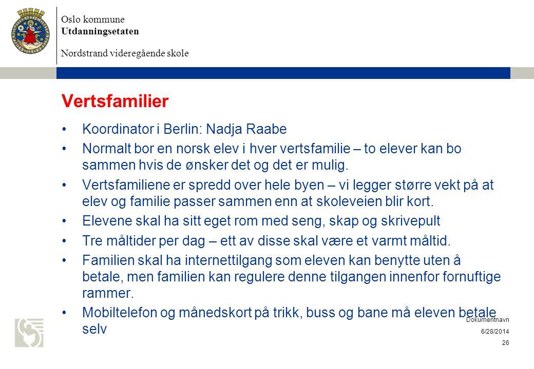 Oslo kommune Utdanningsetaten Nordstrand videregående skole 6/28/2014 Dokumentnavn 26 Vertsfamilier •Koordinator i Berlin: Nadja Raabe •Normalt bor en