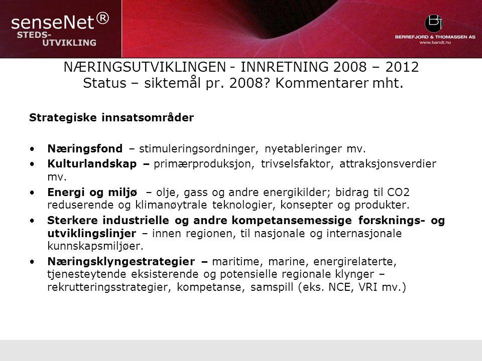 NÆRINGSUTVIKLINGEN - INNRETNING 2008 – 2012 Status – siktemål pr.
