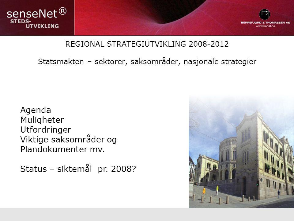 REGIONAL STRATEGIUTVIKLING 2008-2012 Statsmakten – sektorer, saksområder, nasjonale strategier Agenda Muligheter Utfordringer Viktige saksområder og Plandokumenter mv.