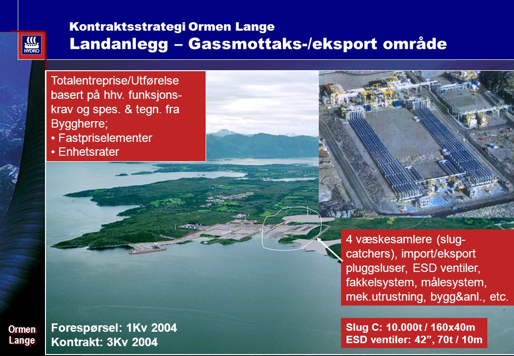 Date: 2003-02-02 - Page: 13 OrmenLangeOrmenLange Kontraktsstrategi Ormen Lange Landanlegg – Gassmottaks-/eksport område Slug C: 10.000t / 160x40m ESD ventiler: 42 , 70t / 10m 4 væskesamlere (slug- catchers), import/eksport pluggsluser, ESD ventiler, fakkelsystem, målesystem, mek.utrustning, bygg&anl., etc.