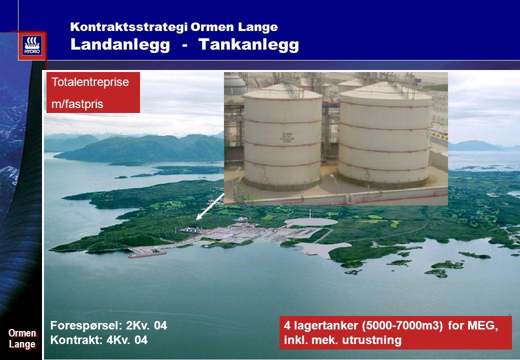 Date: 2003-02-02 - Page: 15 OrmenLangeOrmenLange Kontraktsstrategi Ormen Lange Landanlegg - Tankanlegg Totalentreprise m/fastpris Forespørsel: 2Kv.