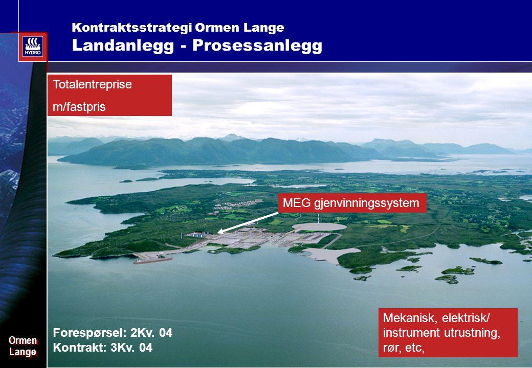 Date: 2003-02-02 - Page: 16 OrmenLangeOrmenLange Kontraktsstrategi Ormen Lange Landanlegg - Prosessanlegg MEG gjenvinningssystem Mekanisk, elektrisk/ instrument utrustning, rør, etc, Forespørsel: 2Kv.