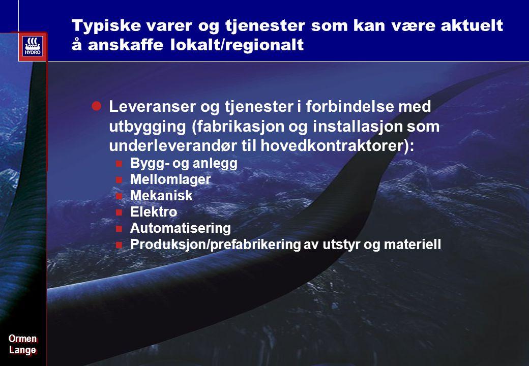 Date: 2003-02-02 - Page: 25 OrmenLangeOrmenLange Typiske varer og tjenester som kan være aktuelt å anskaffe lokalt/regionalt  Leveranser og tjenester i forbindelse med utbygging (fabrikasjon og installasjon som underleverandør til hovedkontraktorer):  Bygg- og anlegg  Mellomlager  Mekanisk  Elektro  Automatisering  Produksjon/prefabrikering av utstyr og materiell