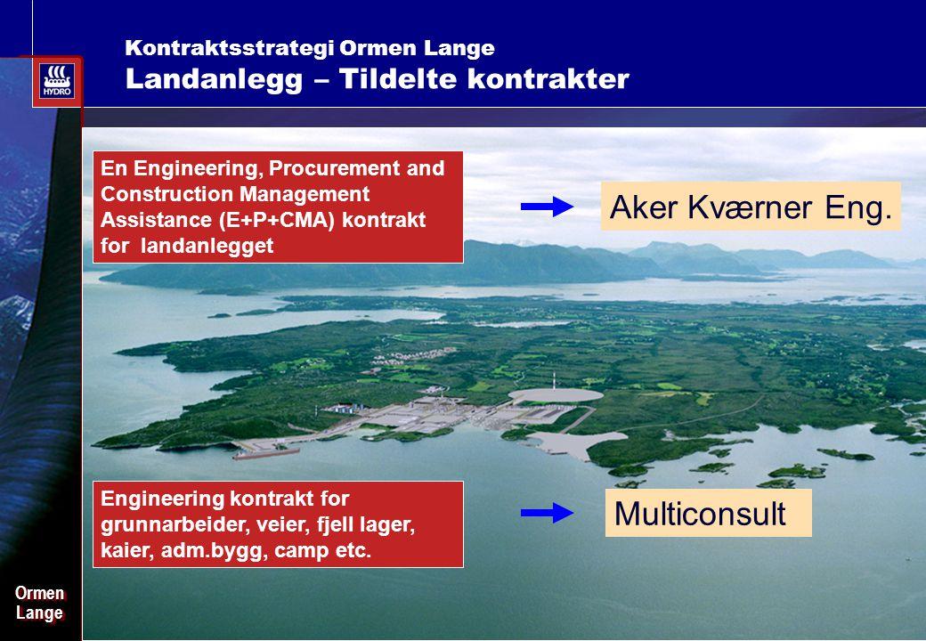 Date: 2003-02-02 - Page: 6 OrmenLangeOrmenLange Kontraktsstrategi Ormen Lange Landanlegg – Tildelte kontrakter En Engineering, Procurement and Construction Management Assistance (E+P+CMA) kontrakt for landanlegget Aker Kværner Eng.