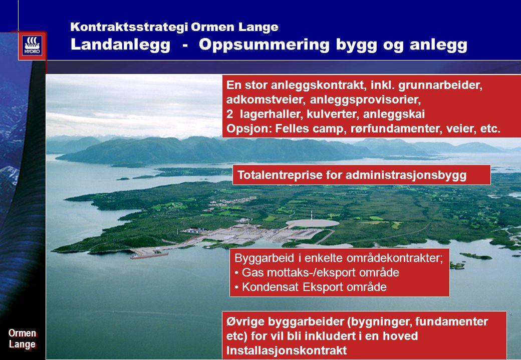 Date: 2003-02-02 - Page: 7 OrmenLangeOrmenLange Kontraktsstrategi Ormen Lange Landanlegg - Oppsummering bygg og anlegg En stor anleggskontrakt, inkl.