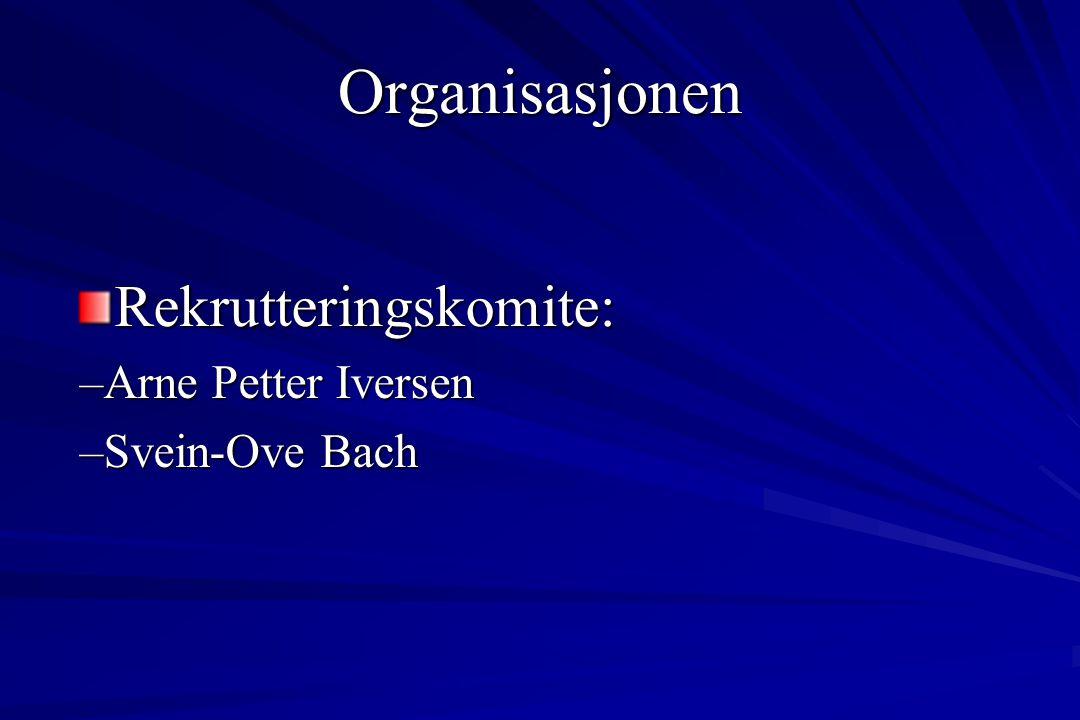 Rekrutteringskomite: –Arne Petter Iversen –Svein-Ove Bach Organisasjonen