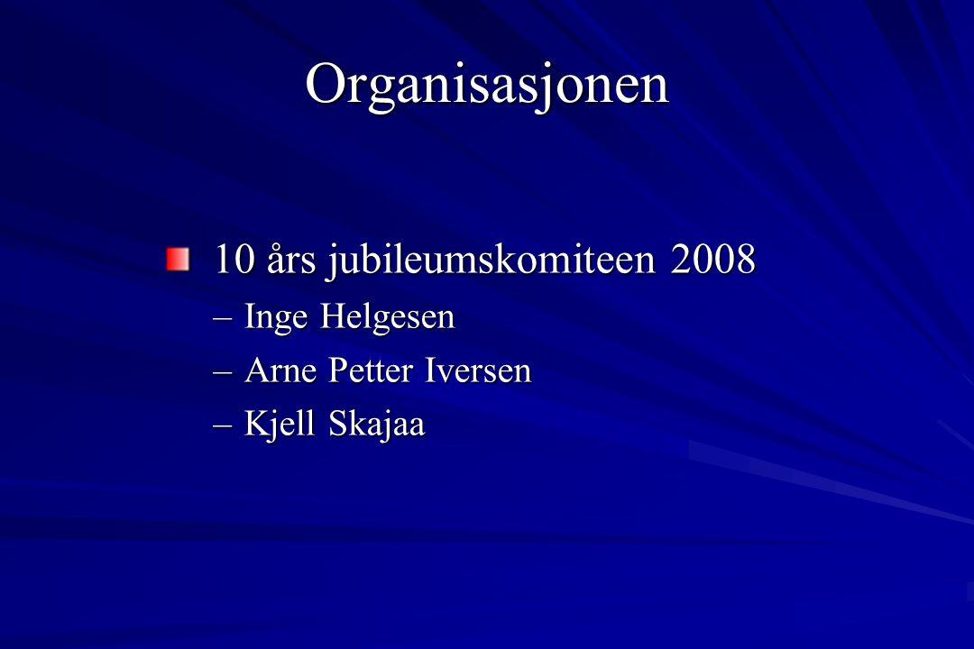 Organisasjonen 10 års jubileumskomiteen 2008 10 års jubileumskomiteen 2008 –Inge Helgesen –Arne Petter Iversen –Kjell Skajaa