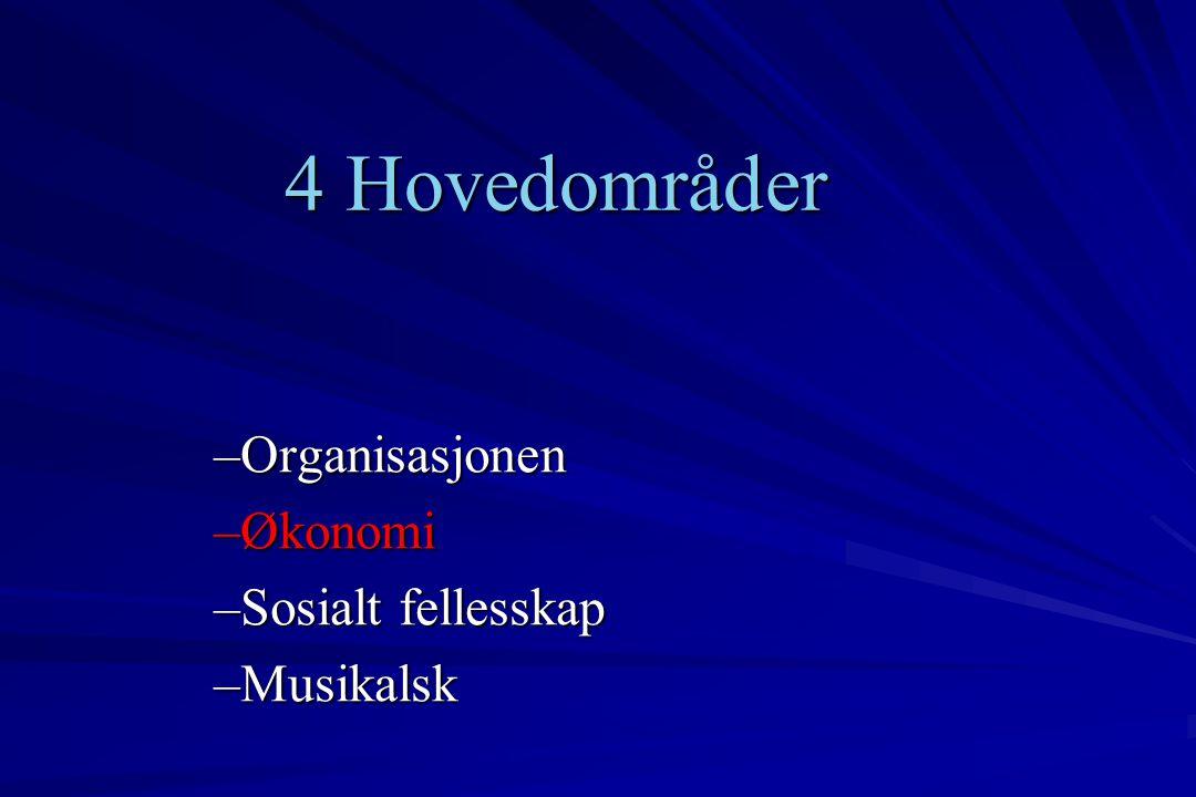4 Hovedområder –Organisasjonen –Økonomi –Sosialt fellesskap –Musikalsk